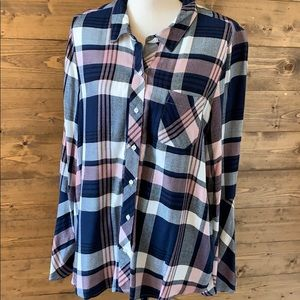 Two Vince Camino Flannel Plaid Flair Sleeve Blouse